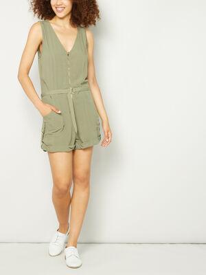 Combinaison short ceinturee vert kaki femme