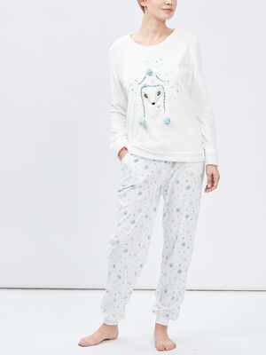 Ensemble de pyjama ecru femme