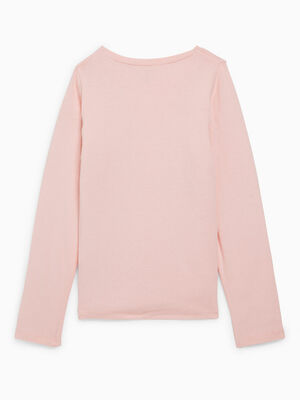 T shirt uni en coton rose clair fille