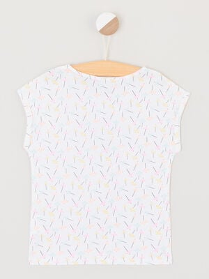 T shirt avec dessin place devant multicolore fille