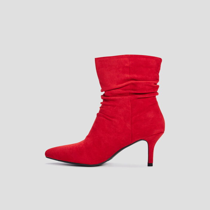 Bottines à talons plissées femme rouge