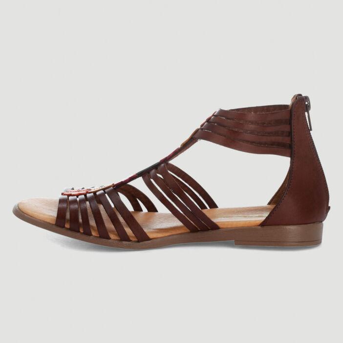 Sandales en cuir fleurs multicolores femme marron