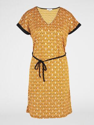 Robe droite ceinturee manche courtes jaune moutarde femme