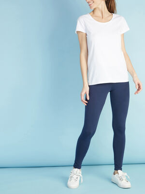Legging long uni bleu marine femme