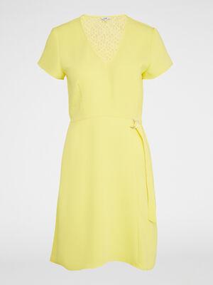 Robe manches courtes dos dentelle jaune femme