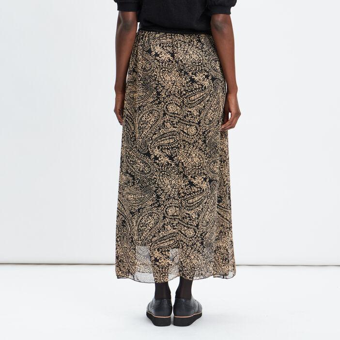 Jupe longue évasée femme noir