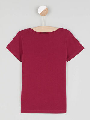 T shirt uni en coton bordeaux fille