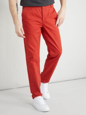 Pantalon droit uni rouge homme