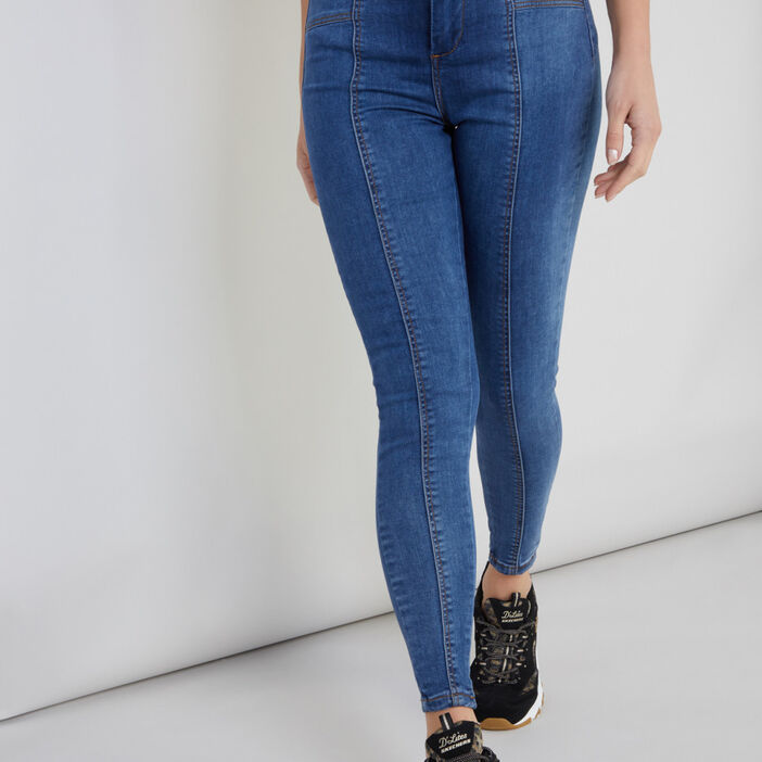Jean skinny avec coutures fantaisie femme denim double stone