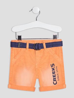 Bermuda droit ceinture Creeks orange bebeg