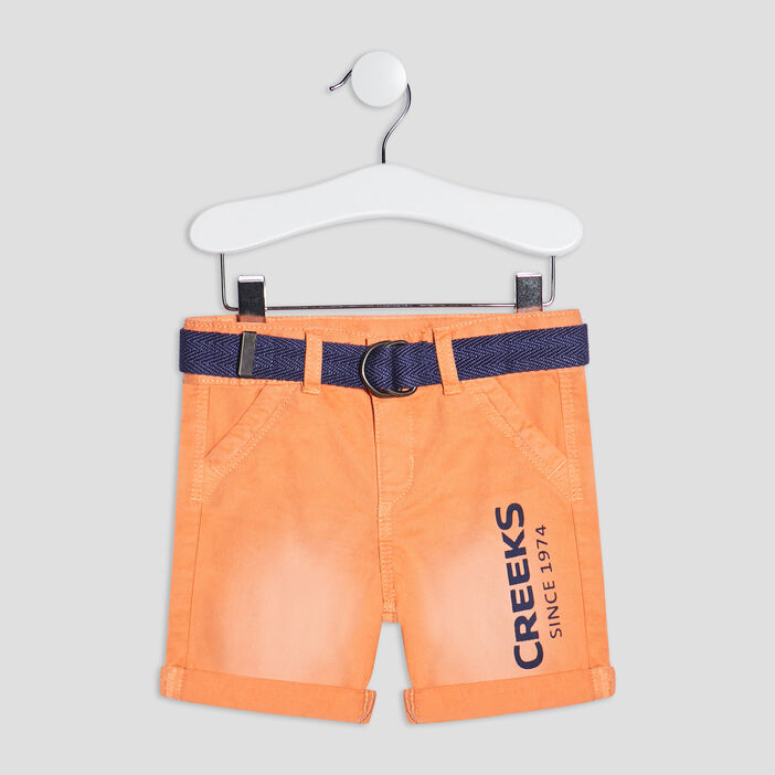 Bermuda droit ceinturé Creeks bébé garçon orange