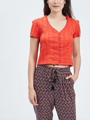 Chemise manches courtes Creeks orange femme