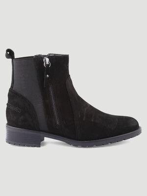 Boots zip fini velours noir femme