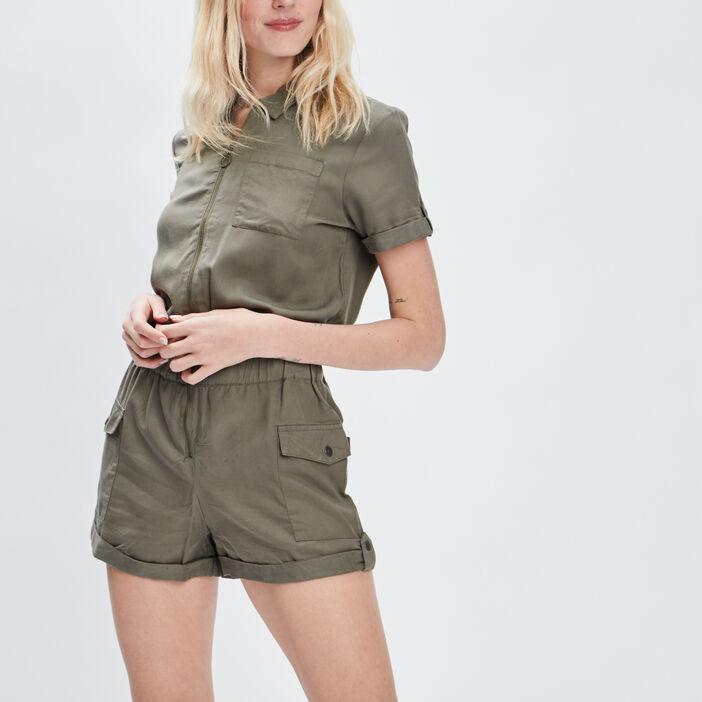 Combishort zippée Liberto femme vert kaki