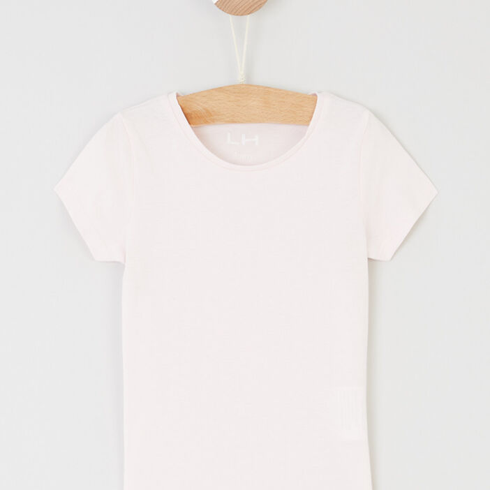 T-shirt manches courtes fille rose clair