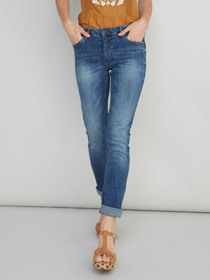 Jean straight poches rivetees denim double stone femme