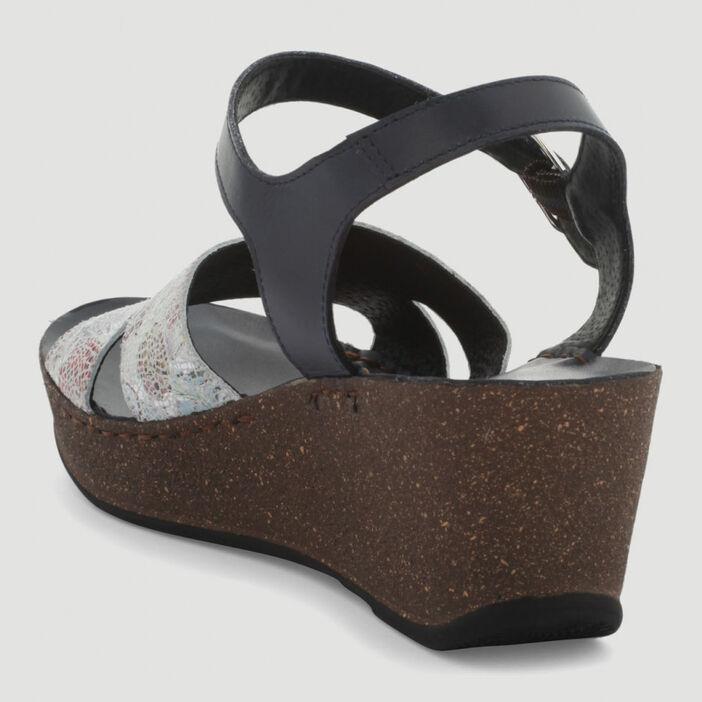 Sandales motif façon mosaïque cuir femme bleu