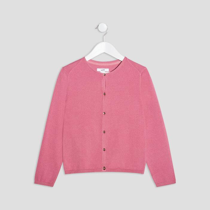 Gilet boutonné fille rose framboise