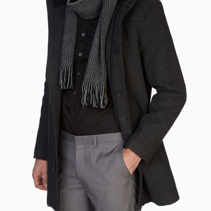 Écharpe imprimée avec franges homme gris