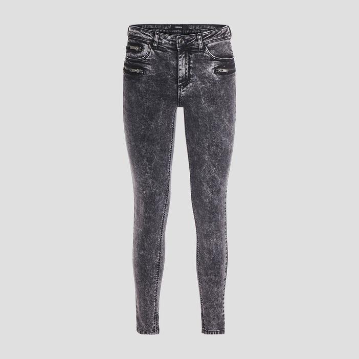 Jeans skinny délavé femme denim snow gris