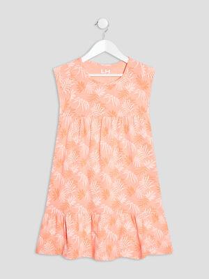 Robe longue evasee orange corail fille