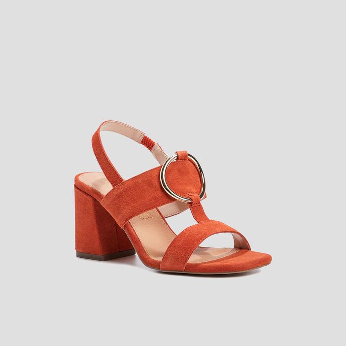 Sandales avec boucles femme orange foncé