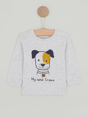 T shirt imprime place devant gris garcon