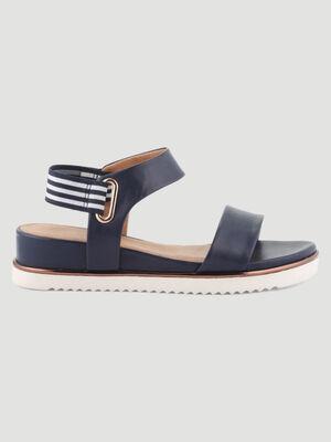 Sandales talon compense bleu femme