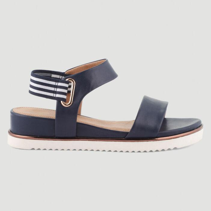 Sandales talon compensé femme bleu