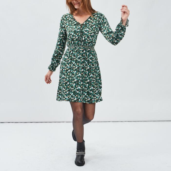 Robe droite avec col en V femme vert
