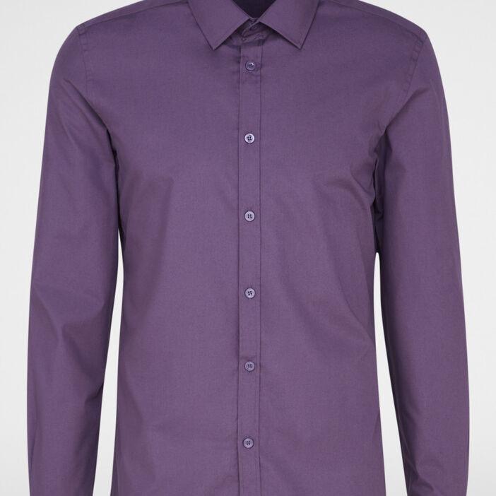 Chemise droite unie manches longues homme violet