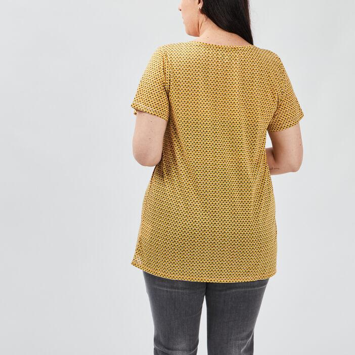 T-shirt manches courtes femme grande taille jaune