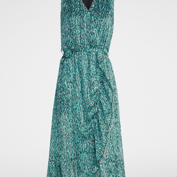 Robe portefeuille imprimée femme bleu turquoise
