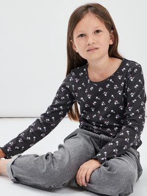 T shirt manches longues gris fonce fille