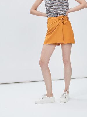 Jupe short droite avec noeud jaune moutarde femme