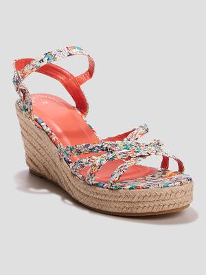Sandales compensees multicolore femme