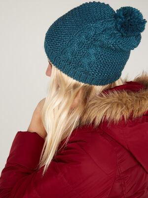 Bonnet maille metallisee avec torsades bleu canard mixte