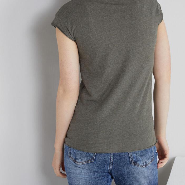 T-shirt col V avec poche femme vert kaki