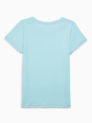 T shirt uni en coton vert pastel fille