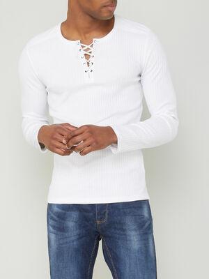 T shirt coton uni maille cotelee blanc homme
