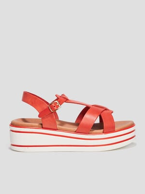 Sandales compensees rouge fille