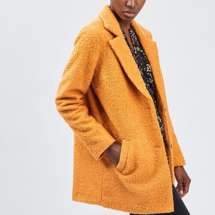 Manteau droit boutonné femme rouge