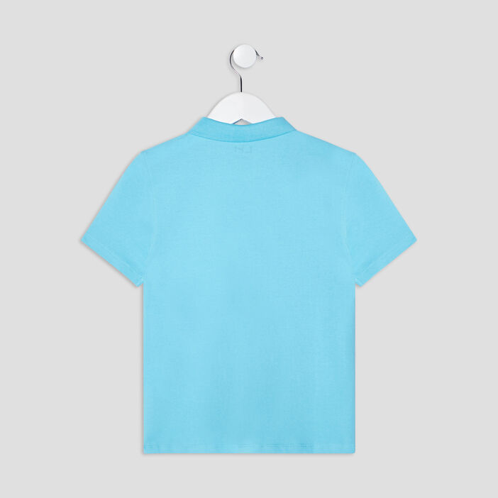Polo manches courtes garçon bleu turquoise