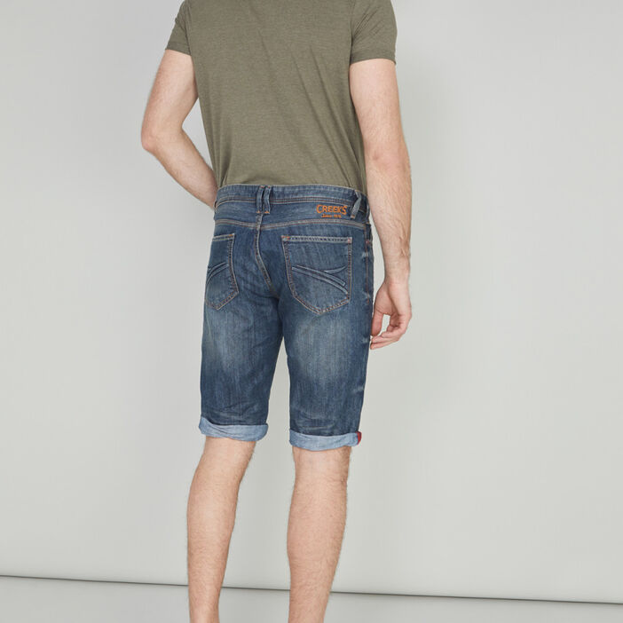 Bermuda droit en jean Creeks homme denim dirty
