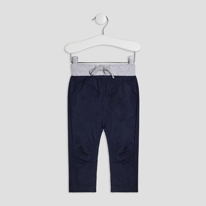 Pantalon droit élastiqué bébé garçon bleu marine