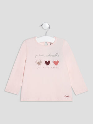 T shirt manches longues Creeks rose clair bebef