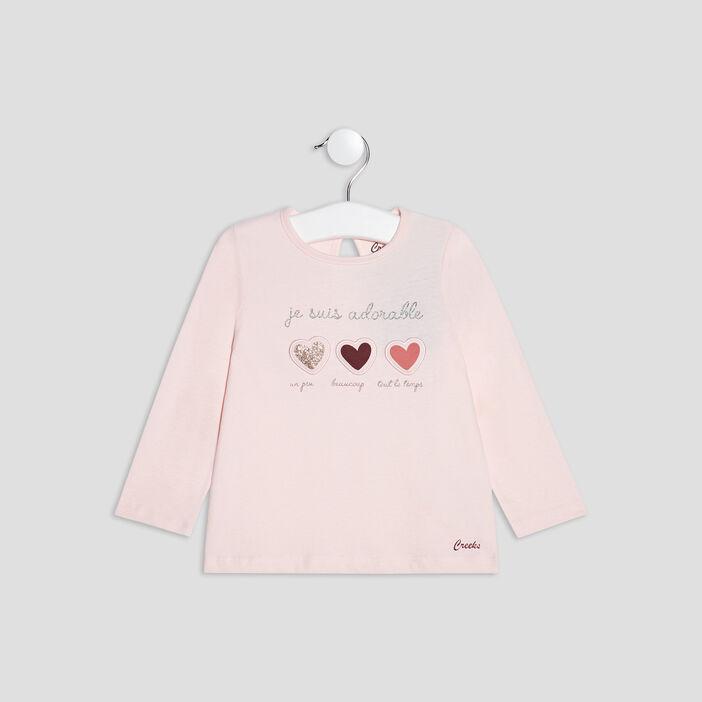 T-shirt manches longues Creeks bébé fille rose clair
