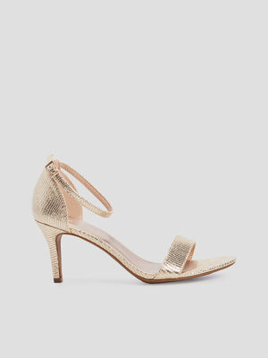 Sandales facon cuir retourne uni couleur or femme