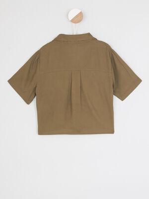 T shirt col rond imprime place vert kaki fille