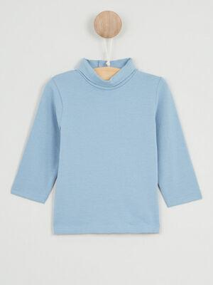 T shirt col roule coton majoritaire bleu gris garcon